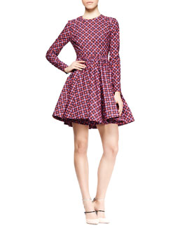 Victoria by Victoria Beckham Long-Sleeve Printed Full-Skirt Dress