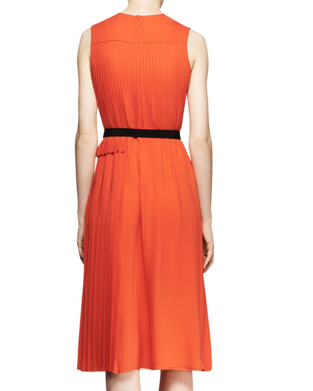 Sleeveless Mixed-Pleat Midi Dress