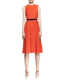 Victoria by Victoria Beckham Sleeveless Mixed-Pleat Midi Dress