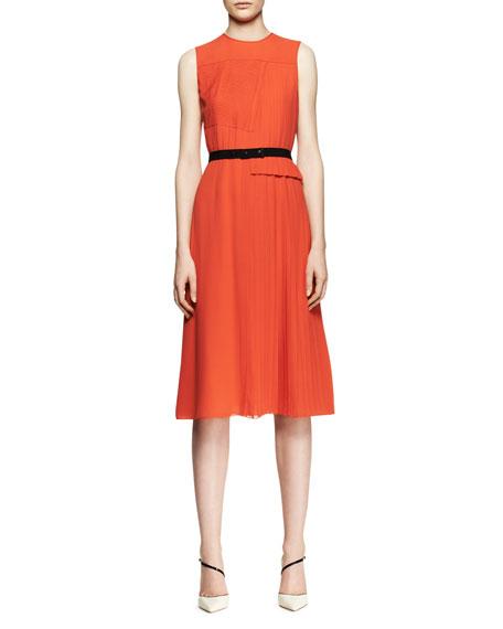 Sleeveless Mixed-Pleat Midi Dress