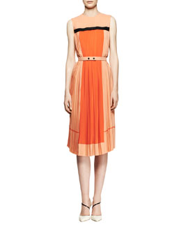 Victoria by Victoria Beckham Pleated Colorblock Midi Dress