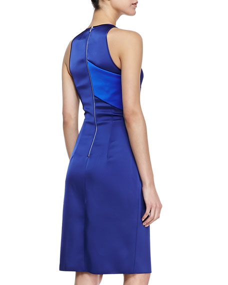 Belted Satin Crossover Dress