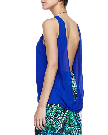 Sleeveless Neck-Ring Open-Back Top