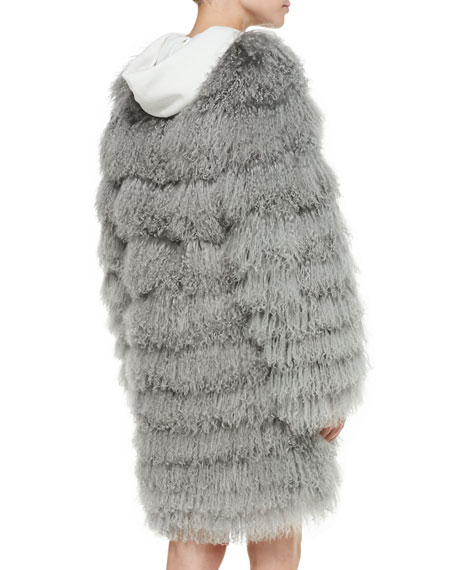 Veronica Tiered Shearling Fur Coat