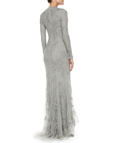Ralph Lauren Collection Long Sleeve Beaded Evening Gown