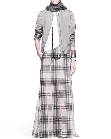 Organza Tartan Maxi Skirt