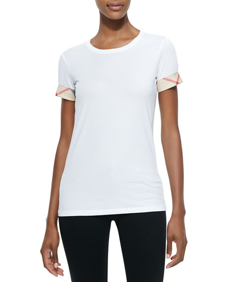 Burberry Short-Sleeve Long Tee, White