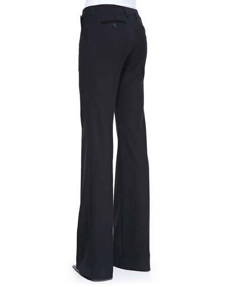 Stretch Wool Boot-Cut Pants, Black