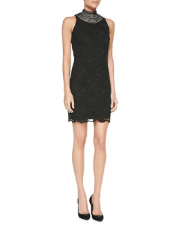 Ralph Lauren Black Label Sondra Beaded-Neck Lace Dress
