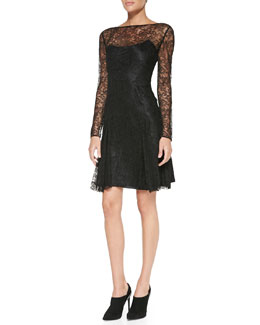 Ralph Lauren Black Label Gabrielle Long-Sleeve Lace Dress
