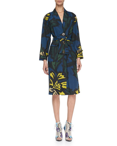 Burberry Prorsum Floral-Print Lightweight Silk Caban Coat