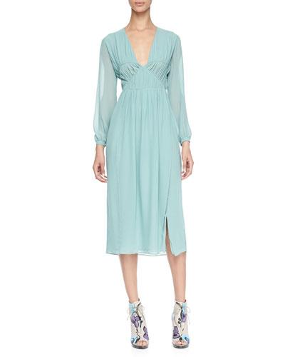 Burberry Prorsum Smocked Silk Dress, Pale Teal Blue