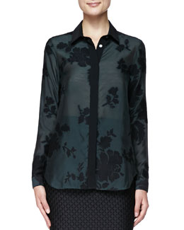Burberry London Wide Placket Floral Shirt