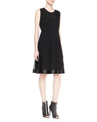 Burberry London Sleeveless Plisse Flare Dress
