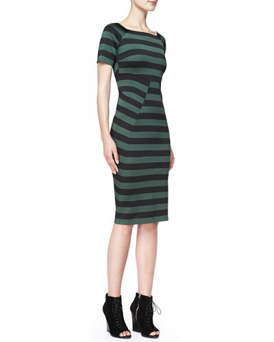 Burberry London Striped Short-Sleeve Dress, Deep Green