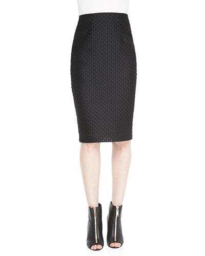 Burberry London Fil Coupe Pencil Skirt, Black