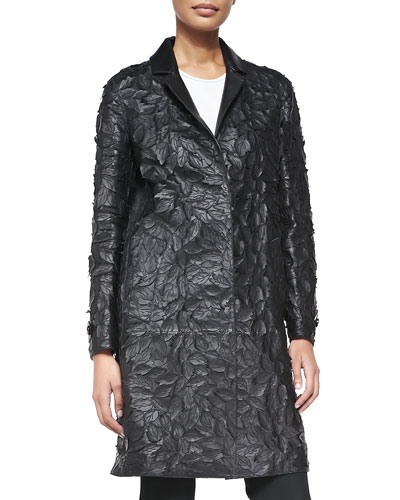 Burberry London Leather Lasercut Leaf Coat, Black