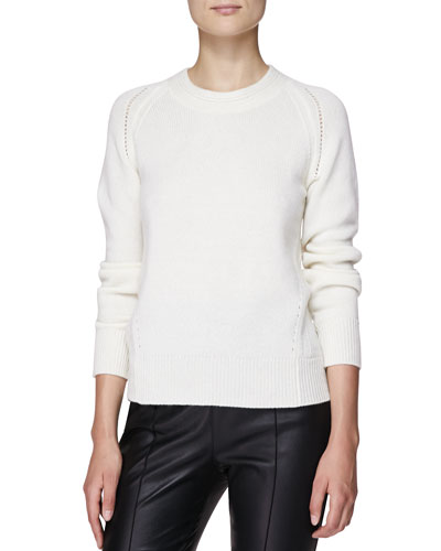 Burberry London Cashmere Crewneck Sweater, Natural White