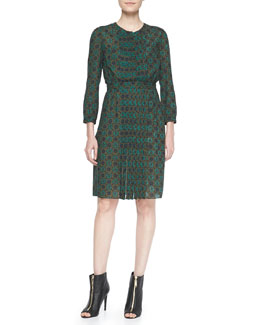 Burberry Brit Runway Inspire Floral Dress, Olive