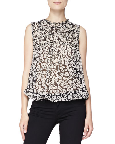Burberry Brit Floral Mixed-Fabric Blouse, Black/White