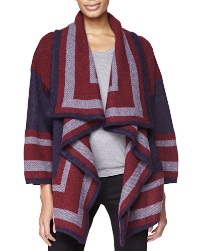 Burberry Brit Short Blanket Sweater, Military Navy/Burgundy