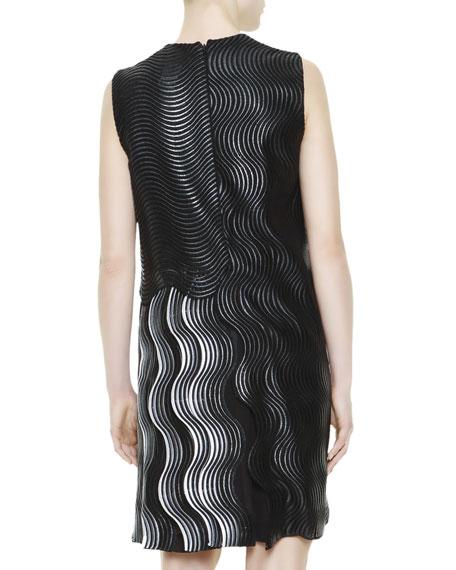 Wave-Jacquard Dress, Black/Gray/Red