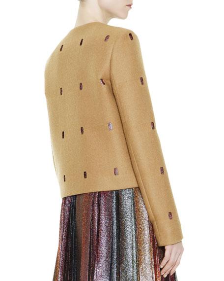 Perforated Metallic-Peekaboo Coat, Camel