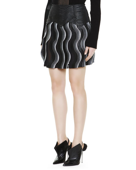 Jacquard Lace Pleat Wave Miniskirt, Black/White