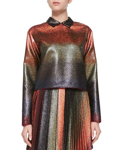Marco de Vincenzo Long-Sleeve Metallic Shirt, Copper/Multi