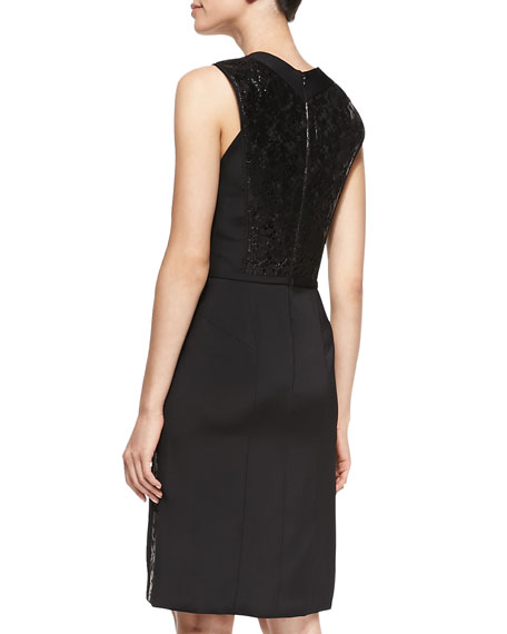 V-Neck Cocktail Dress with Lace Insets, Noir Black