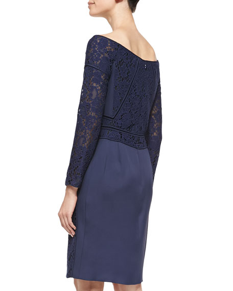 Long-Sleeve Lace Dress, Marine Blue
