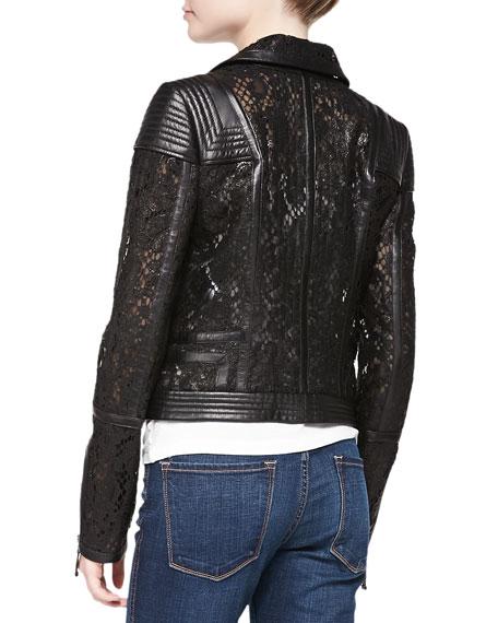 Lace & Leather Moto Jacket, Noir Black