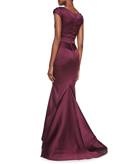 Sweetheart Pinched-Sleeve Mermaid Gown