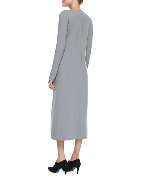 Long-Sleeve Keyhole Midi Dress, Gray