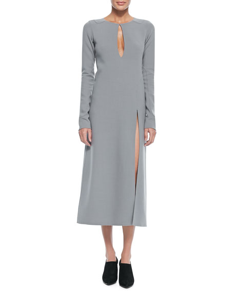Long-Sleeve Keyhole Midi Dress, Gray