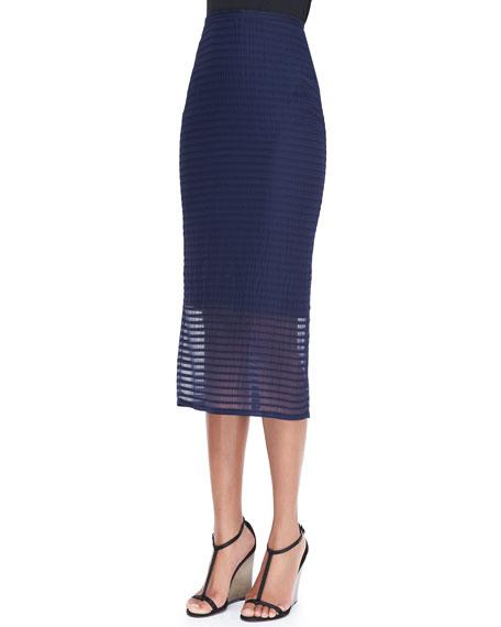 Striped Silk Pencil Skirt