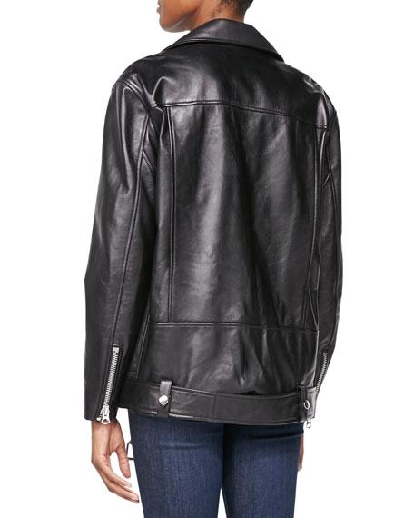 ac6fb731b Oversized Leather Moto Jacket Black