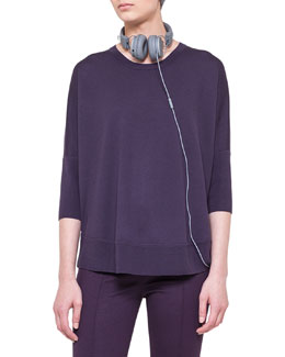 Akris punto 3/4-Sleeve Boat-Neck Sweater, Royal Purple