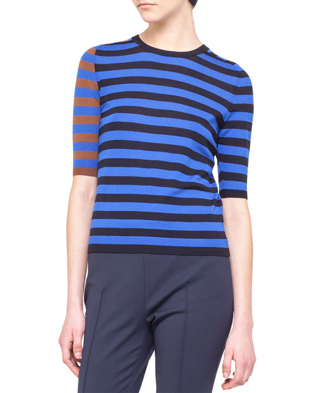 Half-Sleeve Tricolor-Striped Sweater