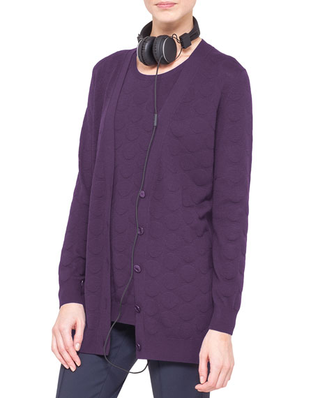 Long Punto Jacquard Cardigan, Purple