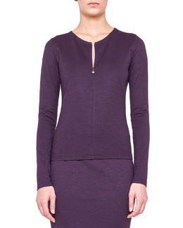 Akris punto Long-Sleeve Zip-Front Top