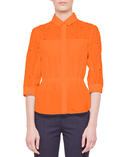 Akris punto 3/4-Sleeve Eyelet-Yoke Cotton Blouse, Tangerine