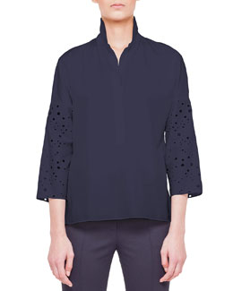 Akris punto Eyelet-Sleeve Button-Down Blouse