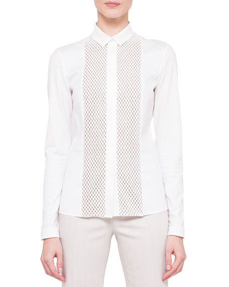 Long-Sleeve Embroidered-Front Blouse