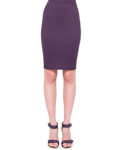 Back-Zip Jersey Pencil Skirt, Purple