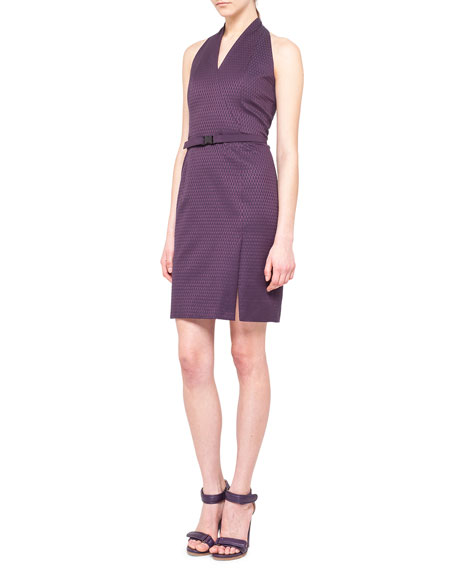Jacquard V-Neck Halter Sheath Dress, Purple