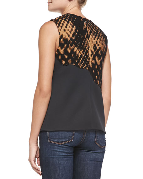 Sleeveless Disintegrating Patchwork Top