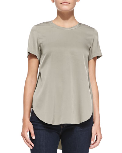 3.1 Phillip Lim Overlapping Side-Seam Blouse, Silver Sage