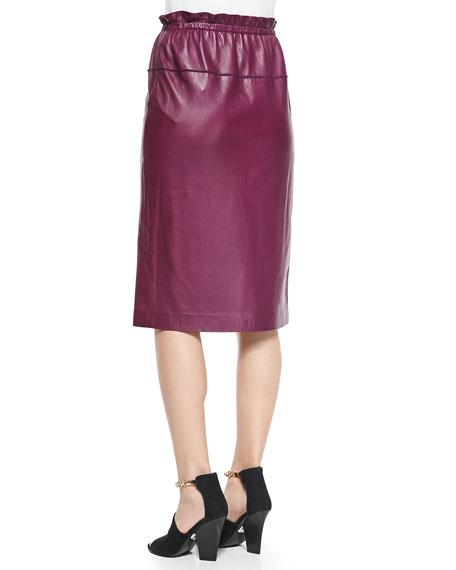 Lambskin Paperbag-Waist Skirt