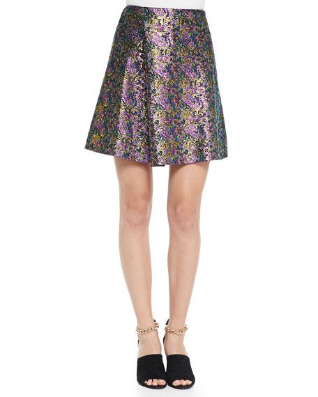 Single-Pleat A-Line Mini Skirt
